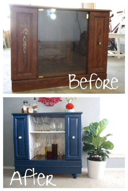 television stand upcycled into a bar