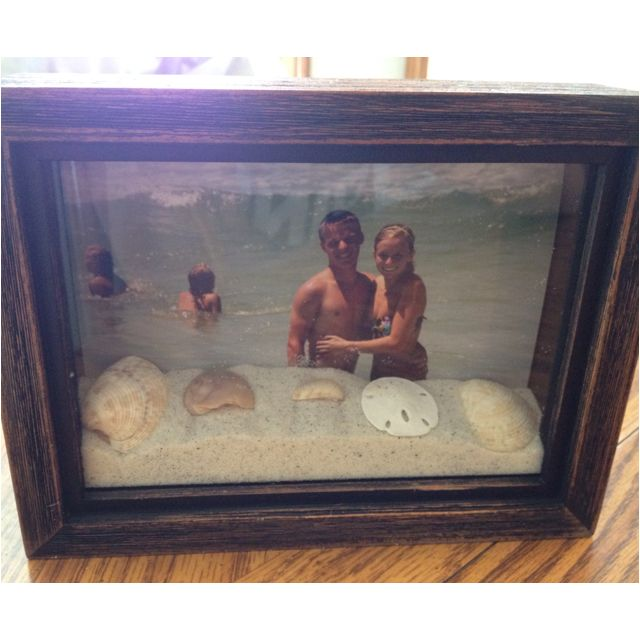 A shadow box with sand and shells from your vacation. Need to do this for Guam before we leave & definitely Australia when we go next year. What a cool keepsake. <3