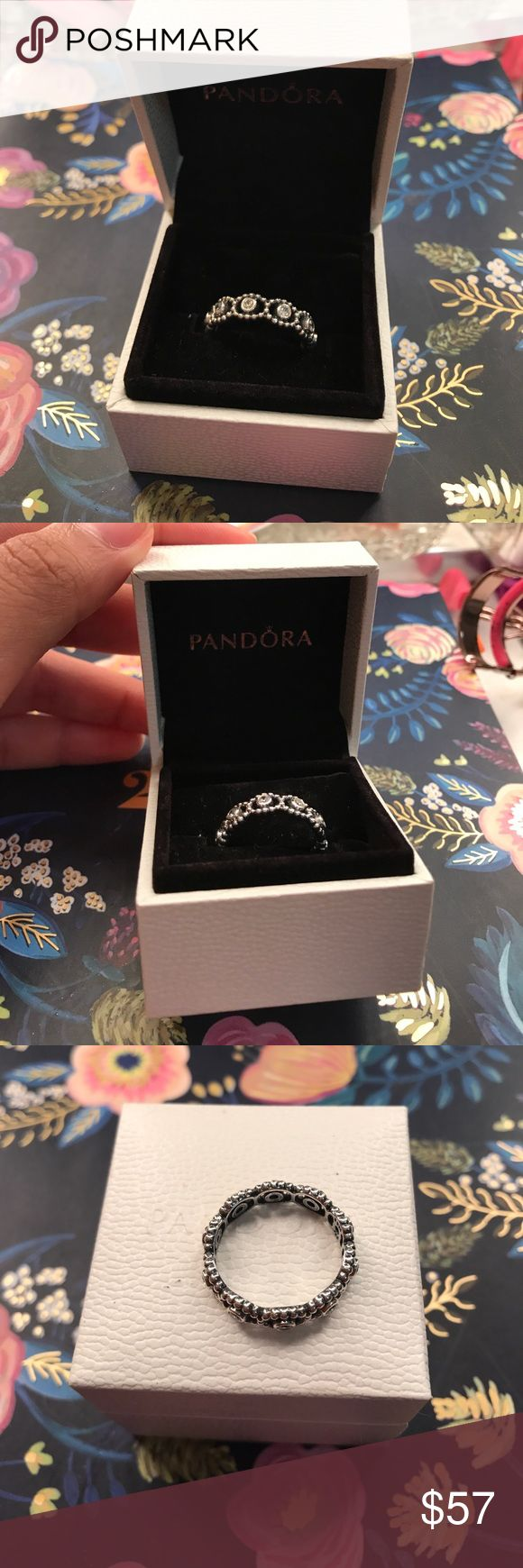 """Pandora Ring - Silver """"Her Majesty"""" Stackable Perfect condition! I believe this is a size 7. fits my middle, thumb & pointy finger! i will ship asap. price is firm! Pandora Jewelry Rings"""