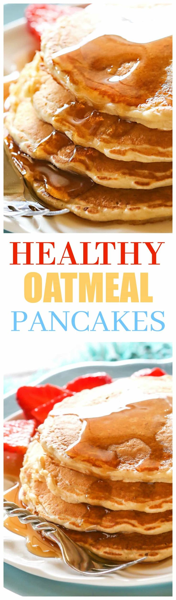 Healthy Oatmeal Pancakes - a hearty pancake recipe with blended oats in the batter. the-girl-who-ate-everything.com
