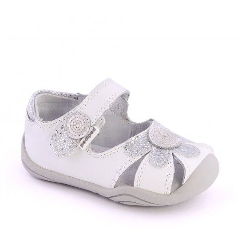 Sandale bebelusi Daisy White Silver - pediped
