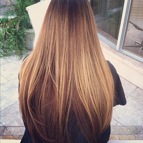 Dark warm brown underneath, golden, caramel highlights on top