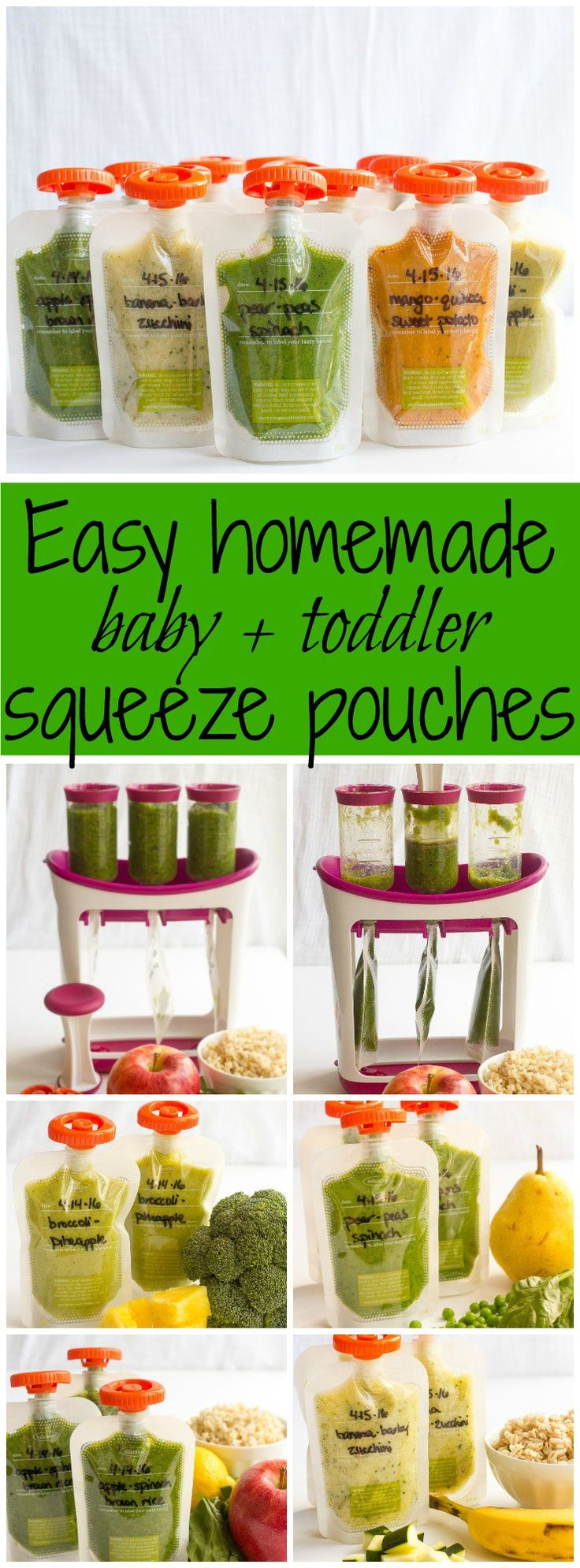 How to make homemade squeeze pouches and 5 easy recipes - great for babies, toddlers and preschool kids! | FamilyFoodontheTable.com