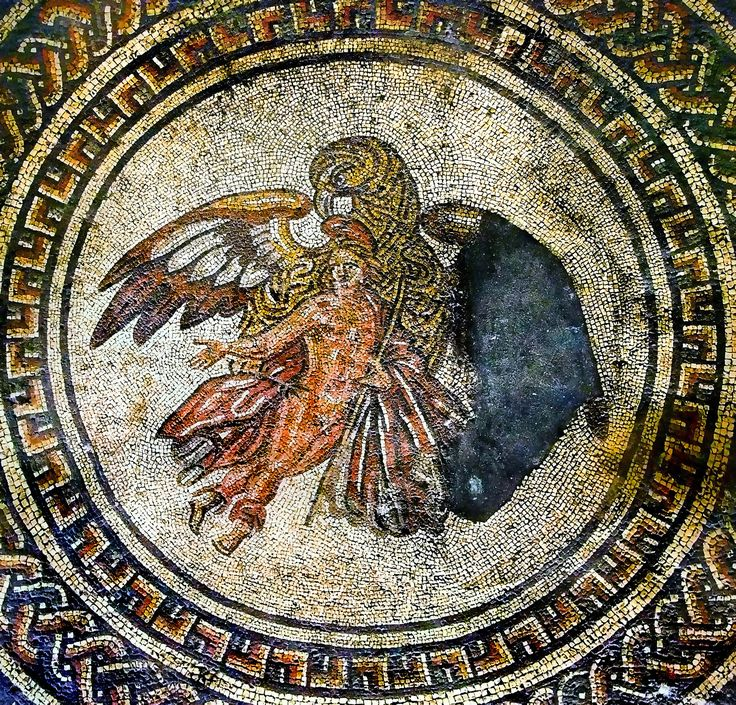 https://flic.kr/p/bEqkwd | Ganymede & Eagle mosaic at Bignor Roman Villa | This impressive mosaic was the centrepiece of a dining room, or triclinium. It shows the young Trojan prince Ganymede being abducted by the god Zeus (Roman god is Jupiter) to be his cupbearer on Mount Olympus. Zeus has disguised himself as a large eagle.  In Greek mythology, Ganymede was a divine hero whose homeland was Troy. Homer describes Ganymede as the most beautiful of mortals. In the best-known myth, he is…