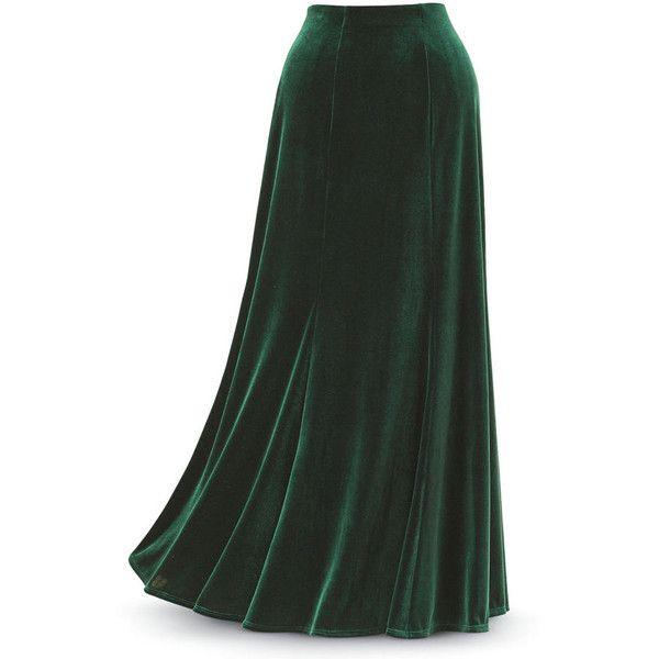 Green Velvet Skirt Size 2X ($80) ❤ liked on Polyvore featuring skirts, bottoms, plus size, green skirt, flared skirt, long skirts, textured skirt and elastic waist skirt