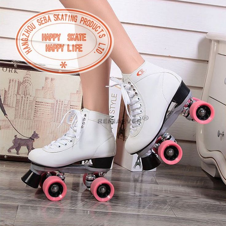 Roller 4 roues blanc / rose