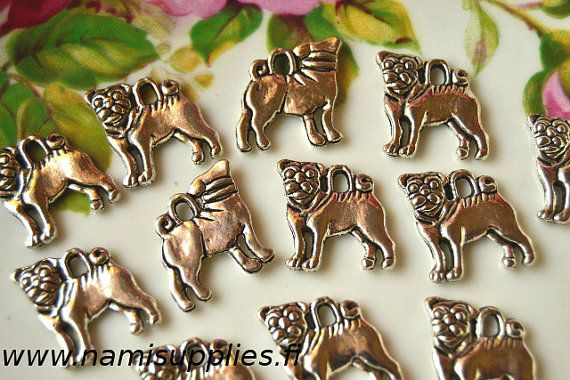 Miniature Pug Charms  Antique Silver Color by NamiSupplies