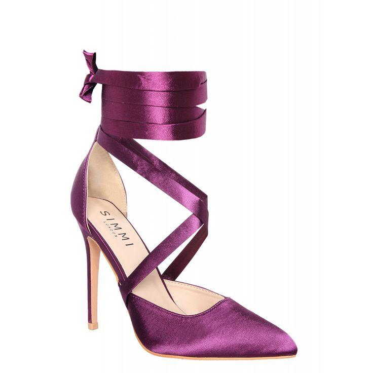 Thea Purple Satin Lace Up Court Shoes : Simmi Shoes