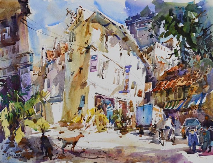 Singapore Watercolor Paintings by Ng Woon Lam NWS AWS 黄运南
