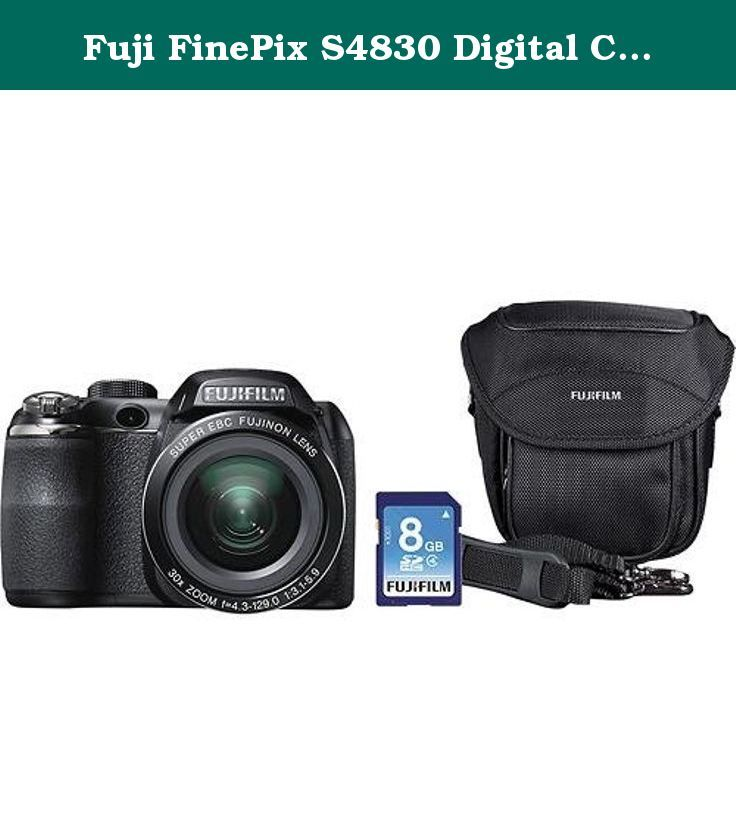 Fuji FinePix S4830 Digital Camera with 16 Megapixels and 30x Optical Zoom, Includes Bag, 8GB SD Card, 100 Bonus Prints and an 8x10 Mounted Photo. Fuji FinePix S4830 with 8GB SD card and bag.