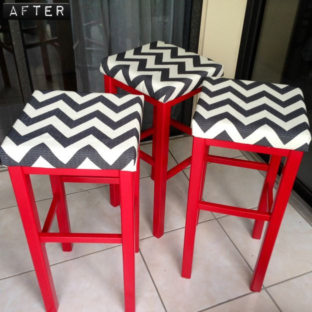 Red Stools HGTV black and white fabric. Loved working on these!!