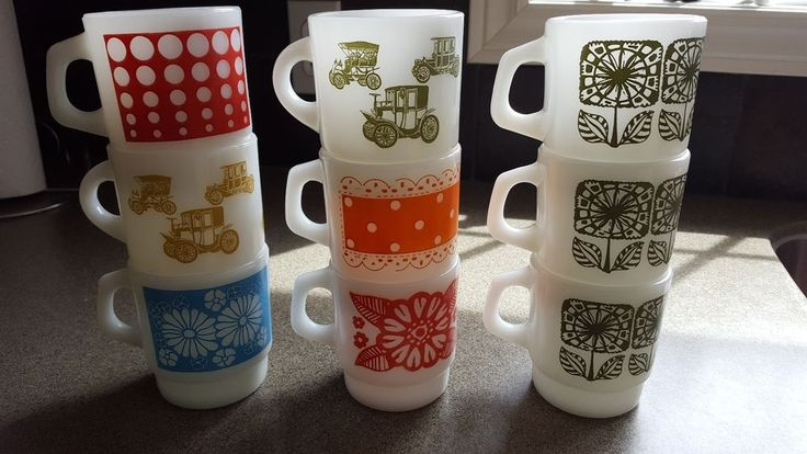 Vintage Fire King Anchor Hocking Stacking Mugs Lot of 9