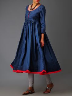 Buy Deep Indigo Random Tuck Pleated Mulmul Kurta Online at www.faaya.in made to your measurements!
