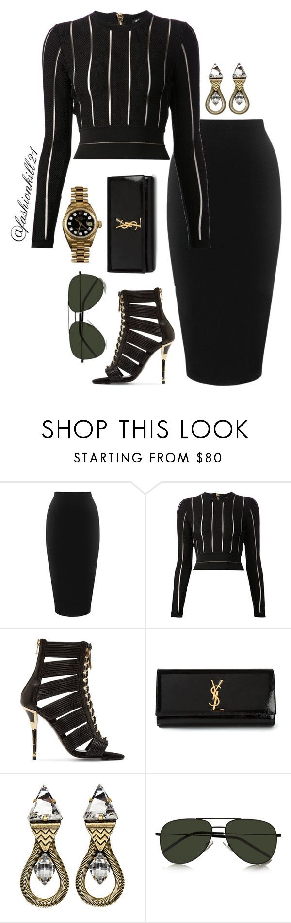"""""""Flashback Look 22"""" by fashionkill21 ❤ liked on Polyvore featuring Whistles, Balmain, Yves Saint Laurent, Lionette, Rolex, women's clothing, women, female, woman and misses"""