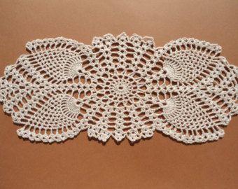 Oval crochet doily pineapple crochet doily oval by kroshetmania