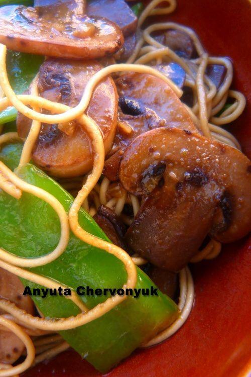 Lo Mein con setas y tirabeques.- Ло мейн с грибами и снежным горошком. | Anyutacocinera's Blog