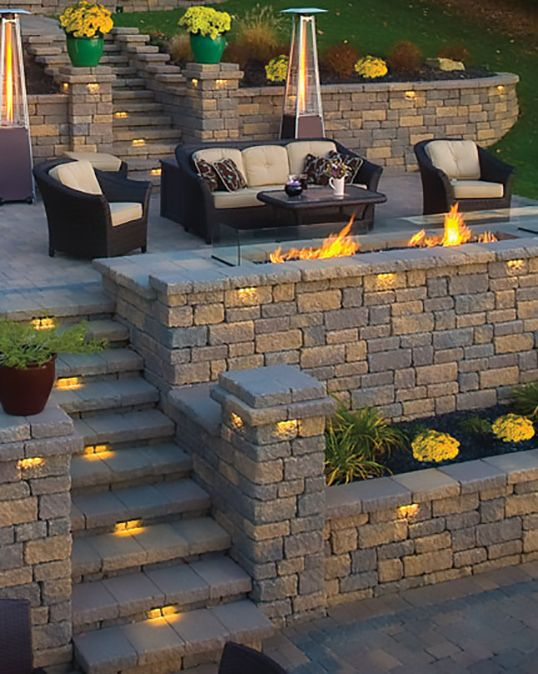 Transitional Patio in Valley City - tiered patio, fire pit in retaining wall | by Valley City Supply