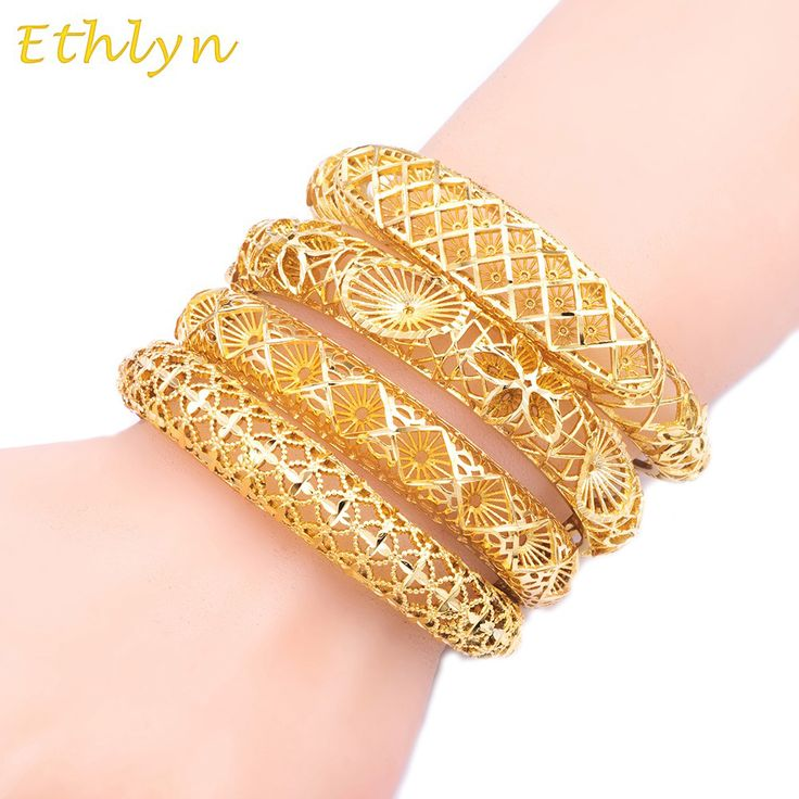 Ethlyn Inverted mold jewelry 24k Gold Plated Dubai Bangles for Women's,Africa Bracelet With Lobster Clasp,Ethiopian Jewelry B028