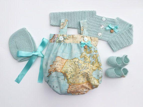 Baby Clothing Set: Romper Bolero Bonnet And by MarigurumiShop