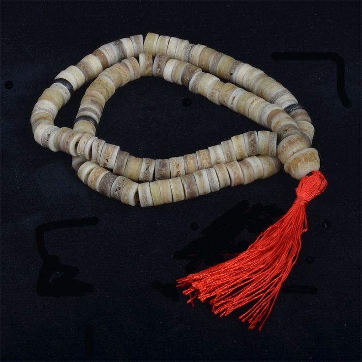 A 108 bead mala made from 9mm human skull bone beads. Traditionally beads were made from people who donated their bodies to the temples for the benefit of the monks and their work.