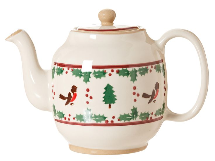 Winter Robin Oval Teapot