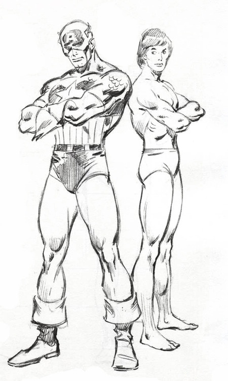 """John Buscema drawing of Captain America from the book """"How To Draw Comics The Marvel Way""""."""