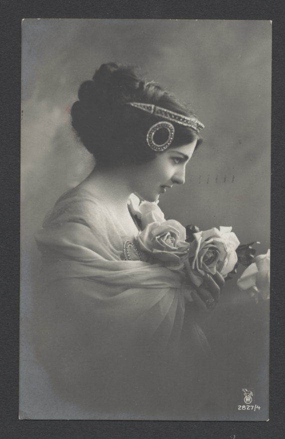 Art Nouveau Jugenstill Woman with Vintage Hair Jewels RPPC 1910 | eBay