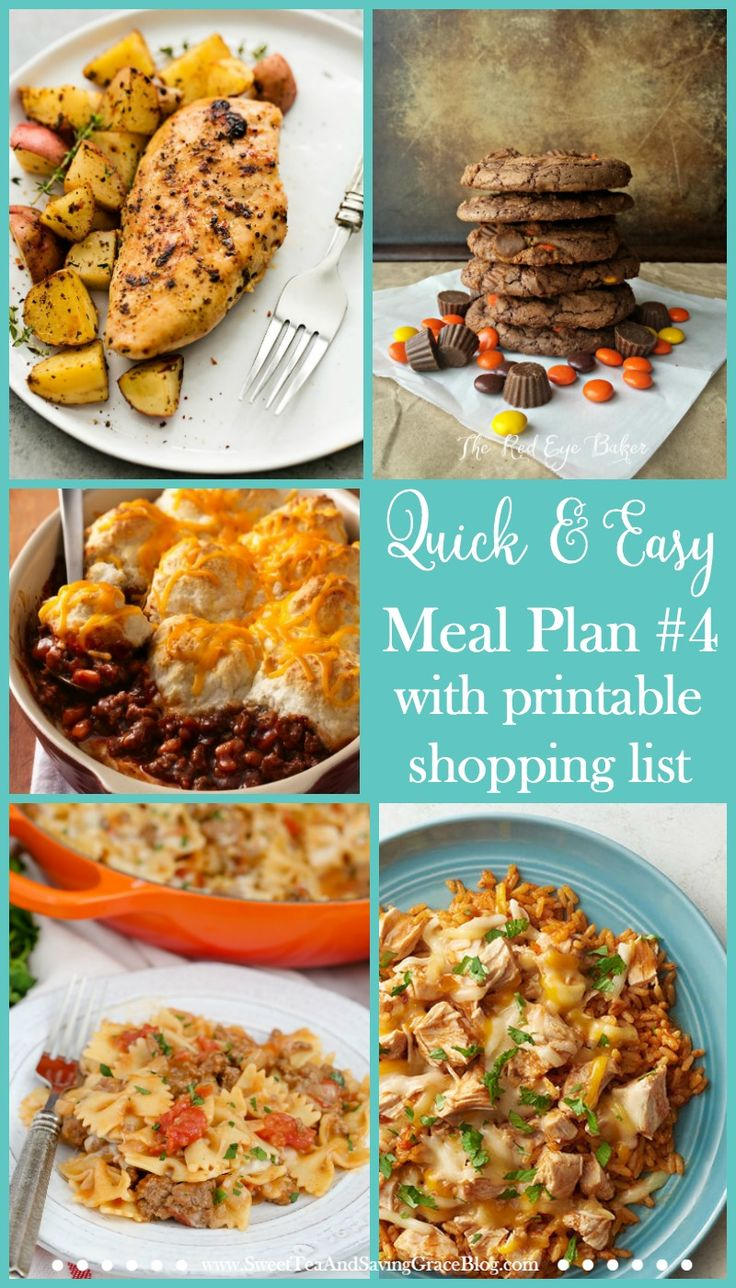 Meal planning doesn't have to suck. These are quick & easy meals that will be easy to fix during a busy week. Plus, there's a printable shopping list to make things even easier! http://sweetteaandsavinggraceblog.com/quick-easy-meal-plan-4/?utm_campaign=coschedule&utm_source=pinterest&utm_medium=Sweet%20Tea%2C%20LLC%20%20%7C%20%20Blogging%20and%20Email%20Marketing&utm_content=Quick%20and%20Easy%20Meal%20Plan%20%234