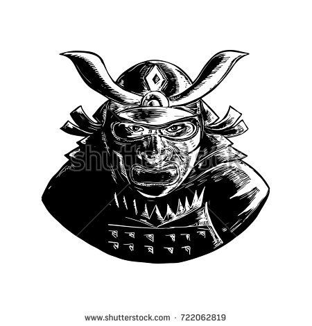 Retro woodcut style illustration of a Samurai Warrior Wearing facial armor mask called Mempo and top heavy kabuto helmet front view on isolated background.  #samurai #woodcut #illustration