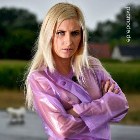 Cute Pvc Girl Transparent Lilac Raincoat Raincoat