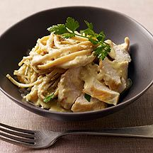 Weight Watchers Chicken Fettucini Alfredo (12 pts). You will probably need to be a member to see the recipe.