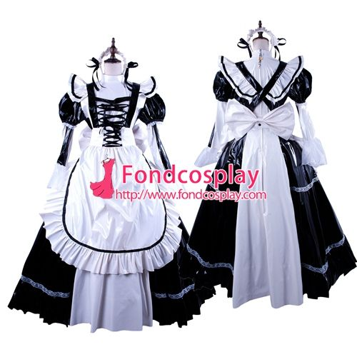 Free Shipping Black-White PVC Lockable Sissy Maid Dress Vinyl Uniform Tailor-Made