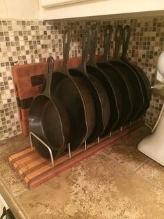 cast iron skillet storage rack  Google Search