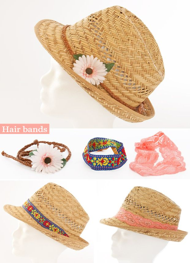 diy fashion ideas straw hat hair bands flower laces