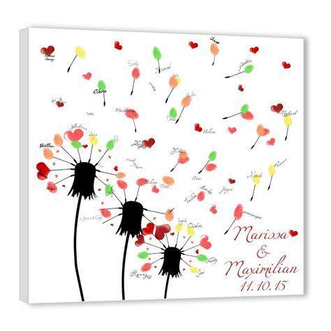 Fingerabdruck Baum – Hochzeit Wünsche Pusteblume
