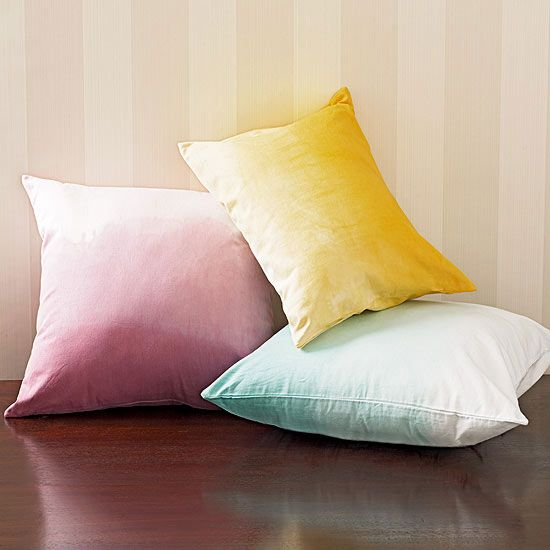 $10 Crafts to Update Your Home, Dip-Dye Pillows   http://www.rachaelraymag.com/fun-how-to/makeover-old-stuff/3/: Daystar Crafts, Dipdi Pillows, Crafts Ideas, Dips Dyes, Dips Dyed Pillows, Homes, Crafts Designs, Crafts Diy, 10 Crafts