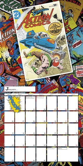Classic Superman at his best in our DC comics 2014 January calendar page.