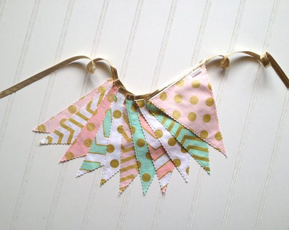 Love this metallic blush and mint bunting