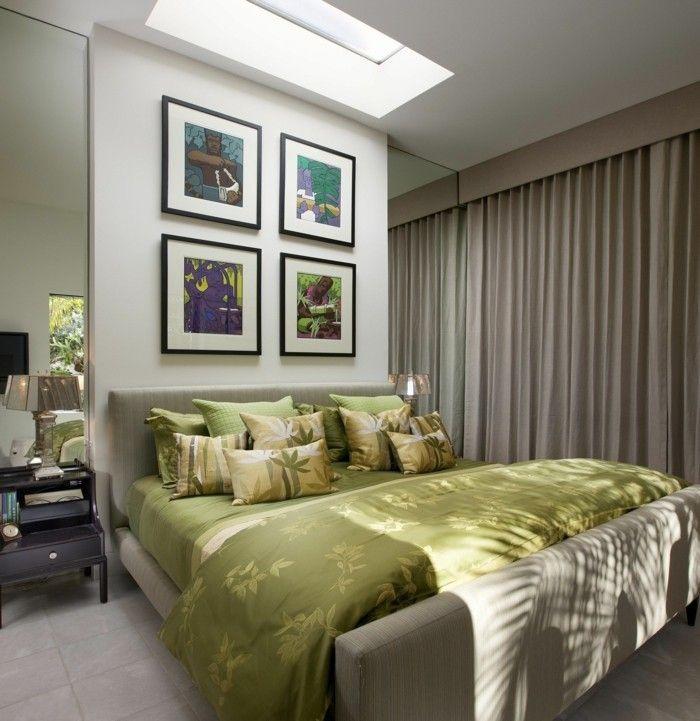 wanddeko ideen schlafzimmer wandbilder luxuriöse bettwäsche