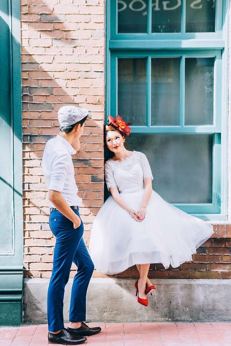 Couple pose idea. Retro wedding styled shoot inspiration with fifties wedding dress.