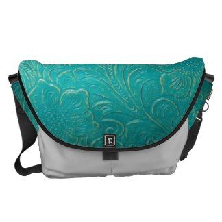 Turquoise Leather Look Courier Bag