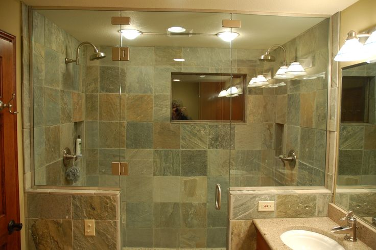 tiled shower ideas | Bathroom Tile Benefits, Bathroom Slate Tiles, Bathroom Slate, Bathroom ...