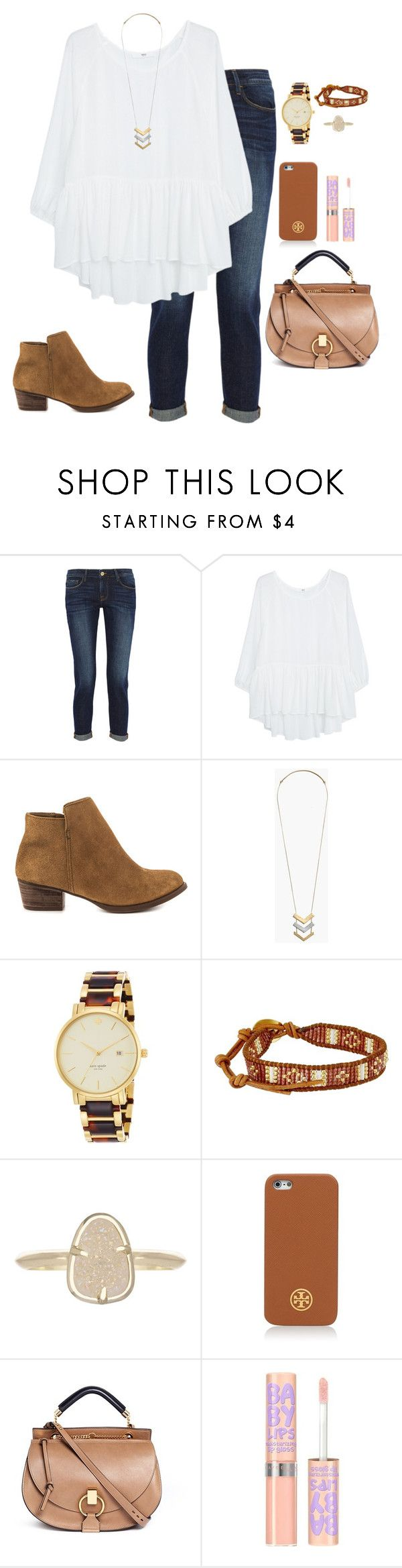 """""""shopping"""" by apemb ❤ liked on Polyvore featuring Frame Denim, MANGO, Jessica Simpson, Madewell, Kate Spade, Chan Luu, Kendra Scott, Tory Burch, Chloé and Maybelline"""
