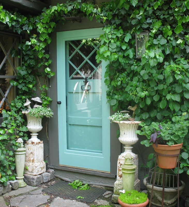 A door into comfort and peace. I want one! :)  love the color.....could replace the purple doors on the new house!