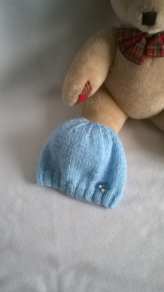 Hand Knitted Baby Hat with Button Detail by Biskettblue on Etsy