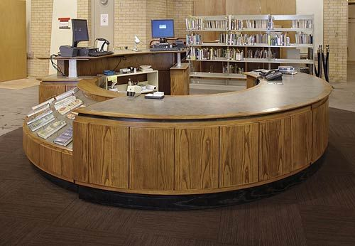 Not this color, but cool high/low desk design. TechnoLink® Modular Service Desk - DEMCO Library Interiors