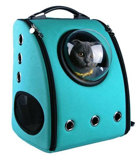 La colorida mochila te trae una pequeña ventana para viajar con tu gato como un astronauta