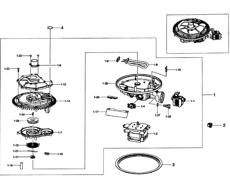 PUMP ASSY Diagram & Parts List for Model DW80F600UTSAA0000