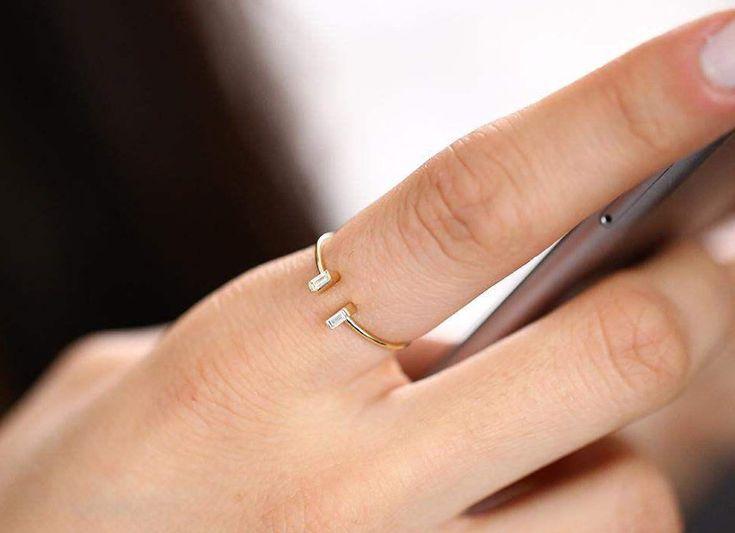 Baguette Diamond Ring/ 14k Gold Baguette Cut Diamond/  Minimalist Ring/ Baguette Cuff Ring/ Thin Gold Baguette Ring/ Graduation Gift by FerkosFineJewelry on Etsy https://www.etsy.com/listing/510520095/baguette-diamond-ring-14k-gold-baguette