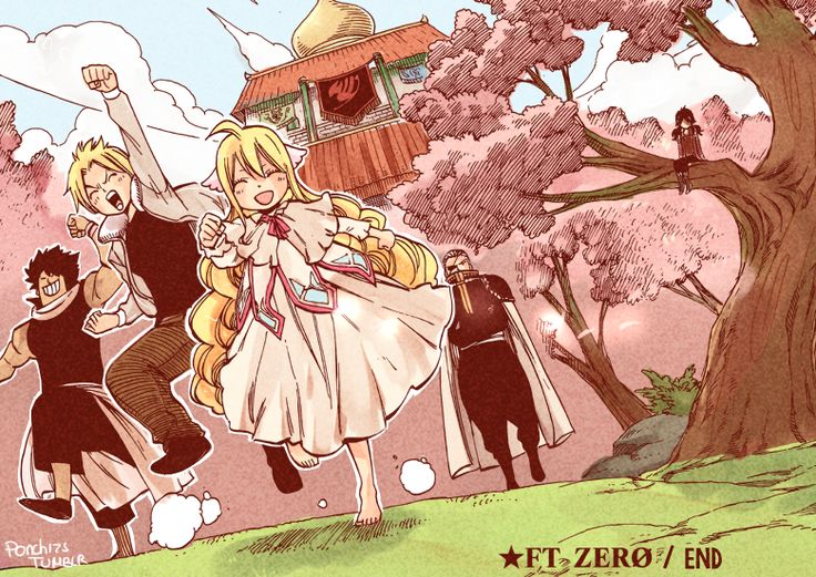 Fairy Tail Zero! OMG, I notice just now that freakibg ZEREF is in the tree watching them! He is so kawaii, he cares for them but stays out of their way otherwise they'll get killes. So that's why he watches them from a tree. Zeref is so sweet✨<-----i think that's Seira